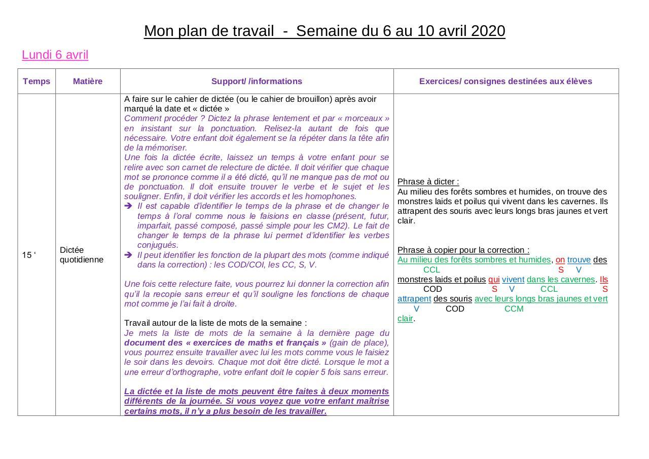Mon Plan De Travail Du 6 Au 10 Avril Cm1 Cm2 B Par Julie Bessettes Fichier Pdf