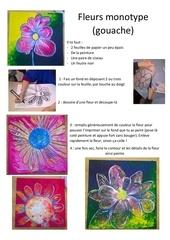 fleurs peinture monotype