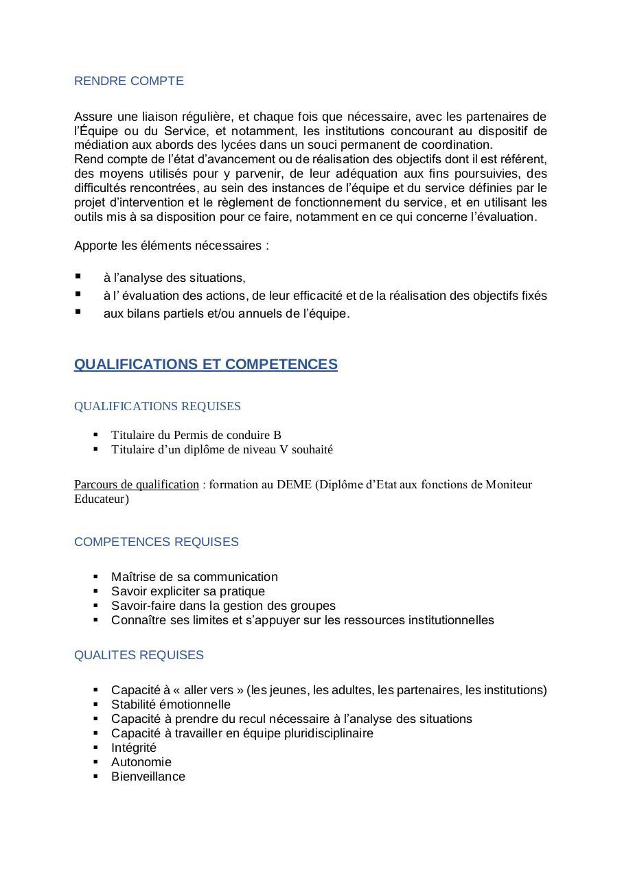 FICHE DE POSTE MEDIATEUR EDUCATIF EN APPRENTISSAGE ME par ...