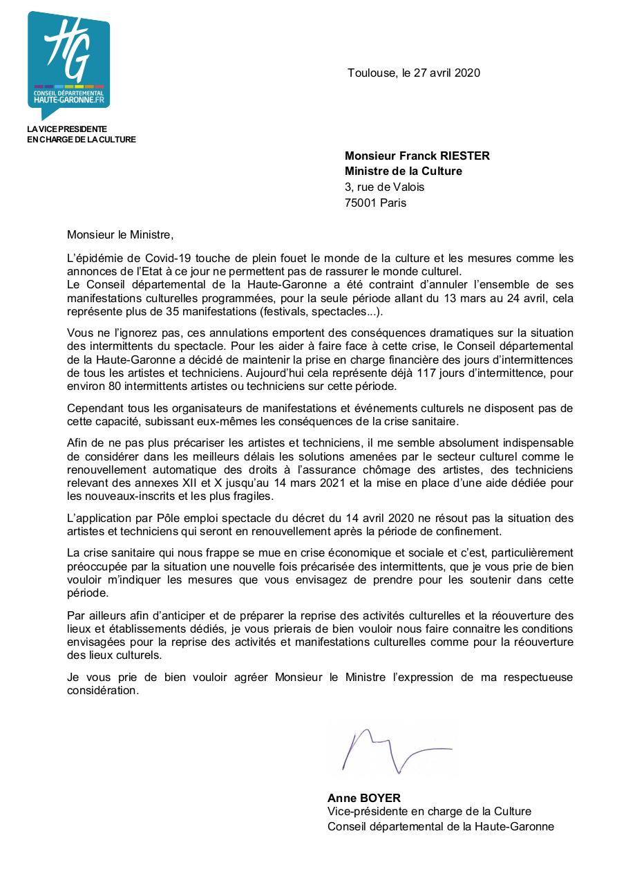 Aperçu du document Courrier-au-Ministre-de-la-Culture_AnneBoyer_270420_CD31.pdf - page 1/1