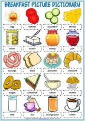breakfast vocabulary esl picture dictionary worksheet for kids f