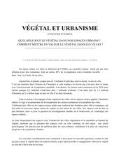 vegetal et urbanisme  bibliographie