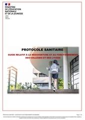 covid19   protocole sanitaire pour la reouverture des colleges e