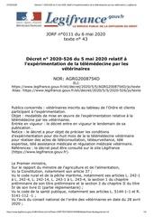decret n 2020 526 du 5 mai 2020 relatif a lexperimentation de la