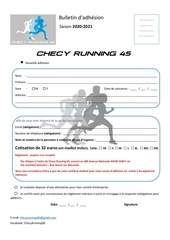 bulletin dadhesion 2020 checy running 45