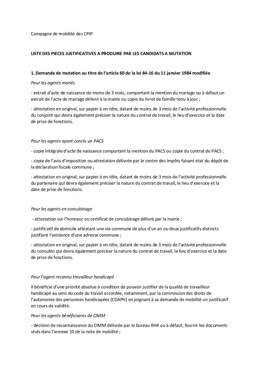 Annexe 8 - Liste des pièces justificatives par TOURE-NIANG Ndeye