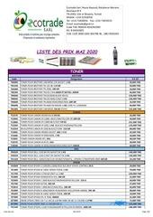 liste des prix mai 2020