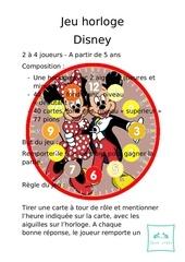 regles du jeu jeu horloge mickey et minnie