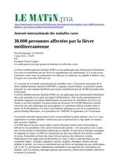 lassociation marocaine de la fievre mediterraneenne a lhonneur d