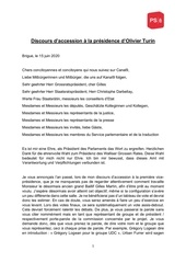 discours daccession a la presidence dolivier turin