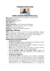 curriculum vitae de  safari rukahusa ruffin bsc