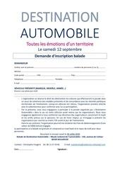 4 destination automobile   demande dinscription balade
