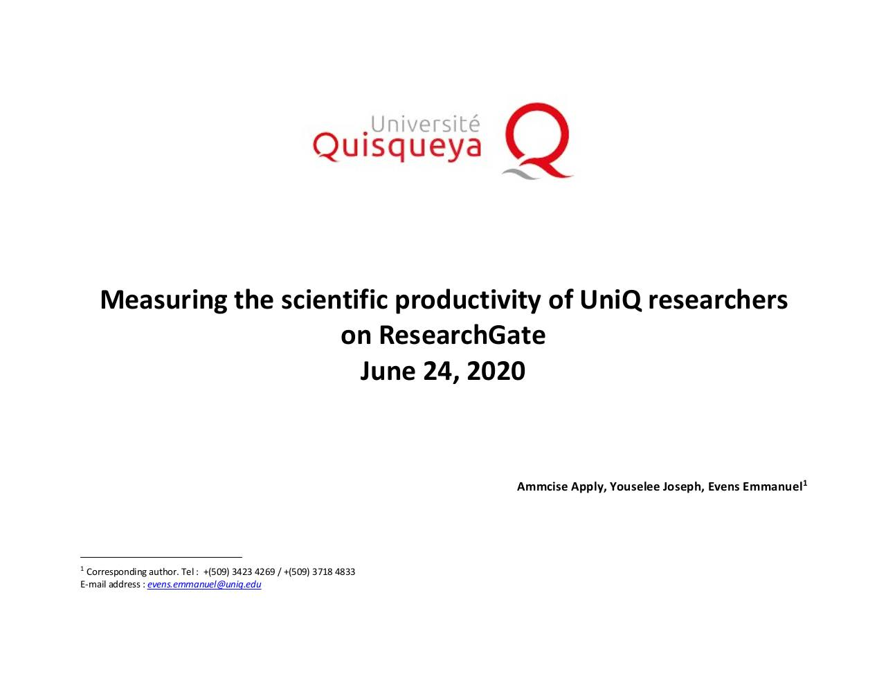 June 2020 - Measures of scientific productivity of researchers at Quisqueya University - RESEARCHGATE.pdf - page 1/19