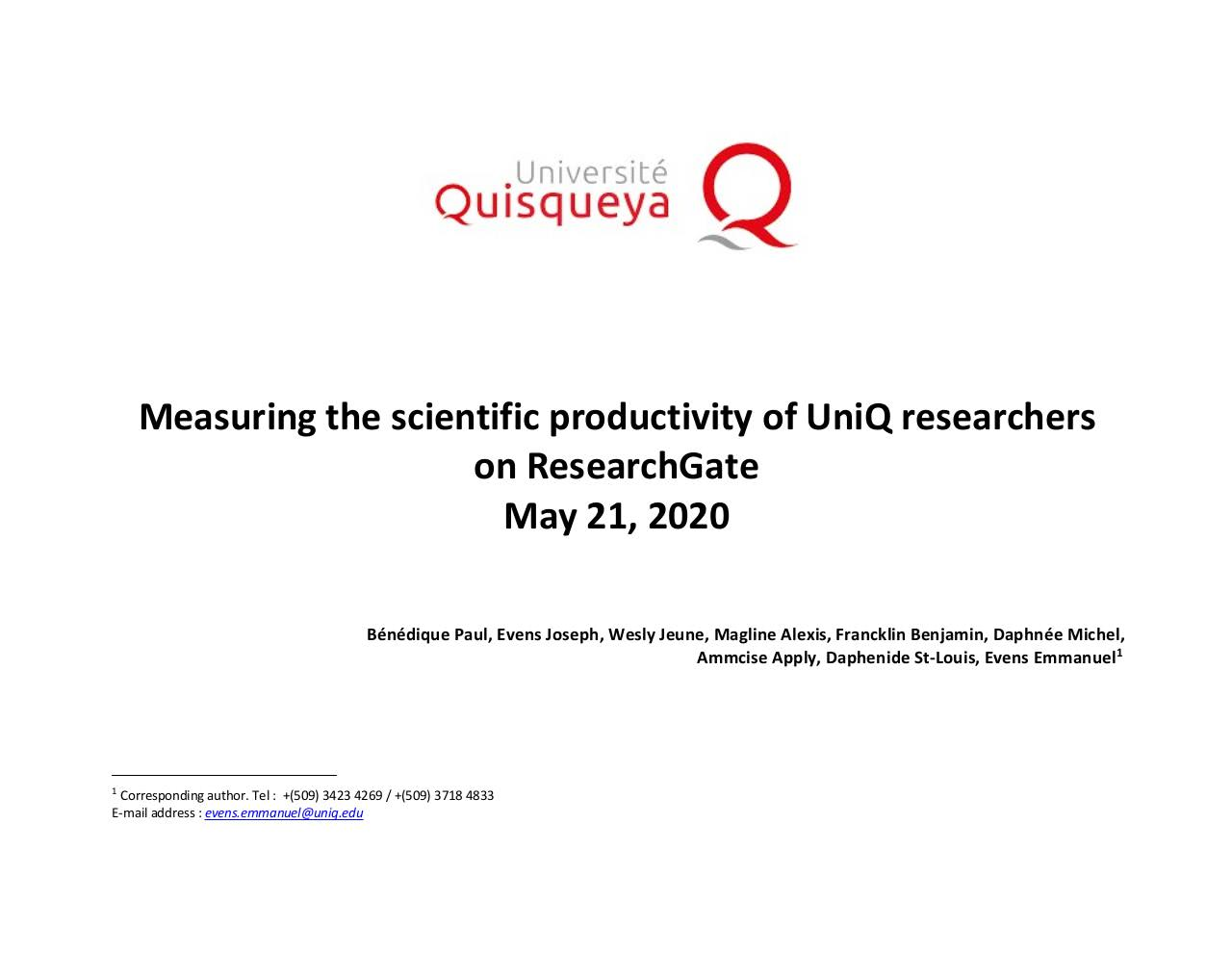 May 2020 - Measures of scientific productivity of researchers at Quisqueya University - RESEARCHGATE (May 21, 2020).pdf - page 1/18