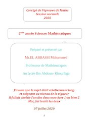corrige epreuve de maths bac sciences mathematiques sn 2020