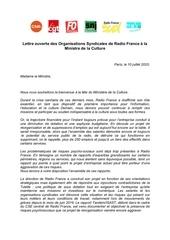 lettre ouverte des organisations syndicales de radio france a la