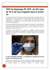 tests de depistage rt pcr  de 20 a plus de 70  de faux negatifs