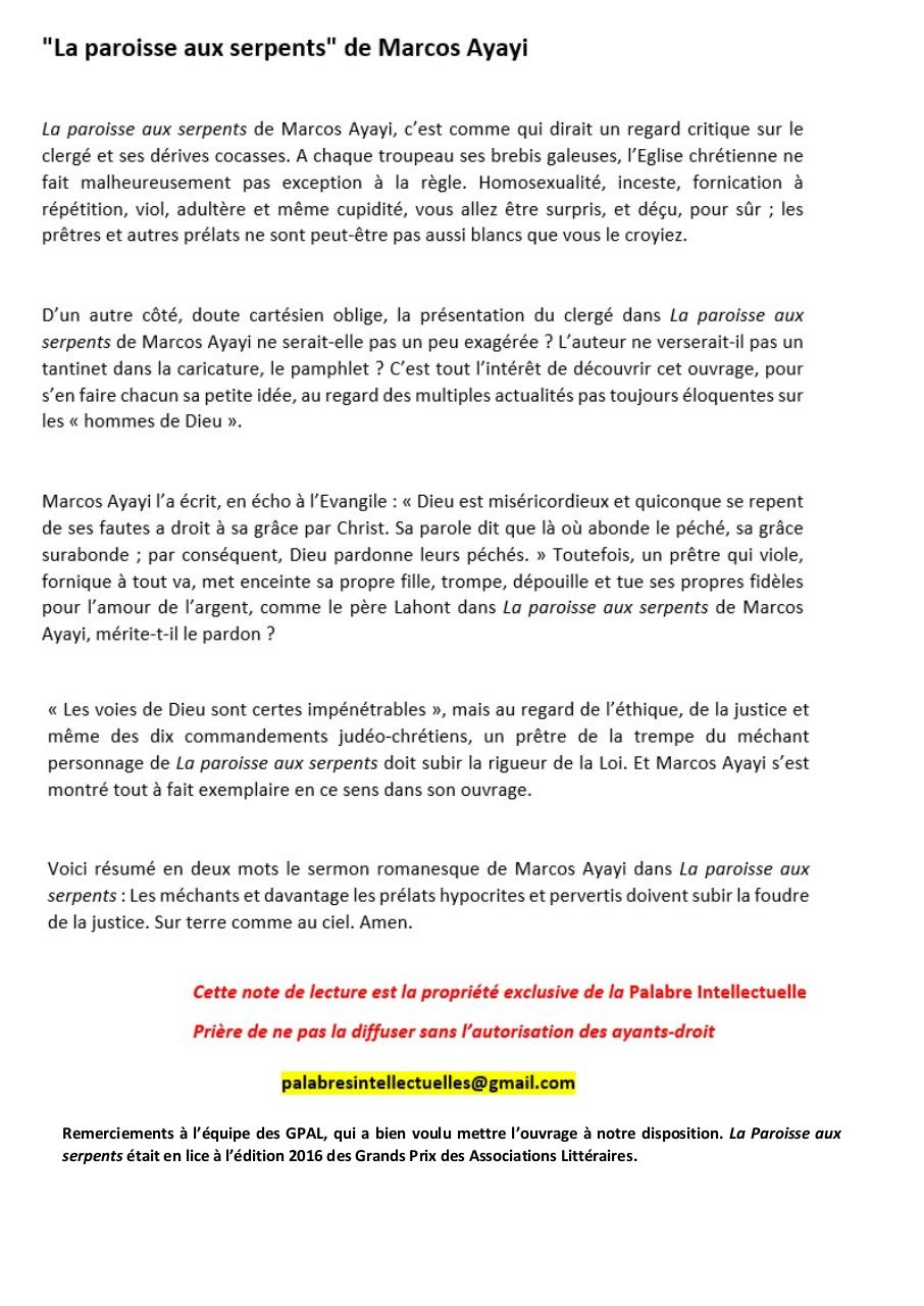 Aperçu du document ''La Paroisse aux serpents'' de  Marcos Ayayi.pdf - page 1/1