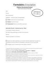 formulaire inscription  autorisation parentale
