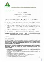 decision n029 05 2020 portant mise en place de la bourse cesag