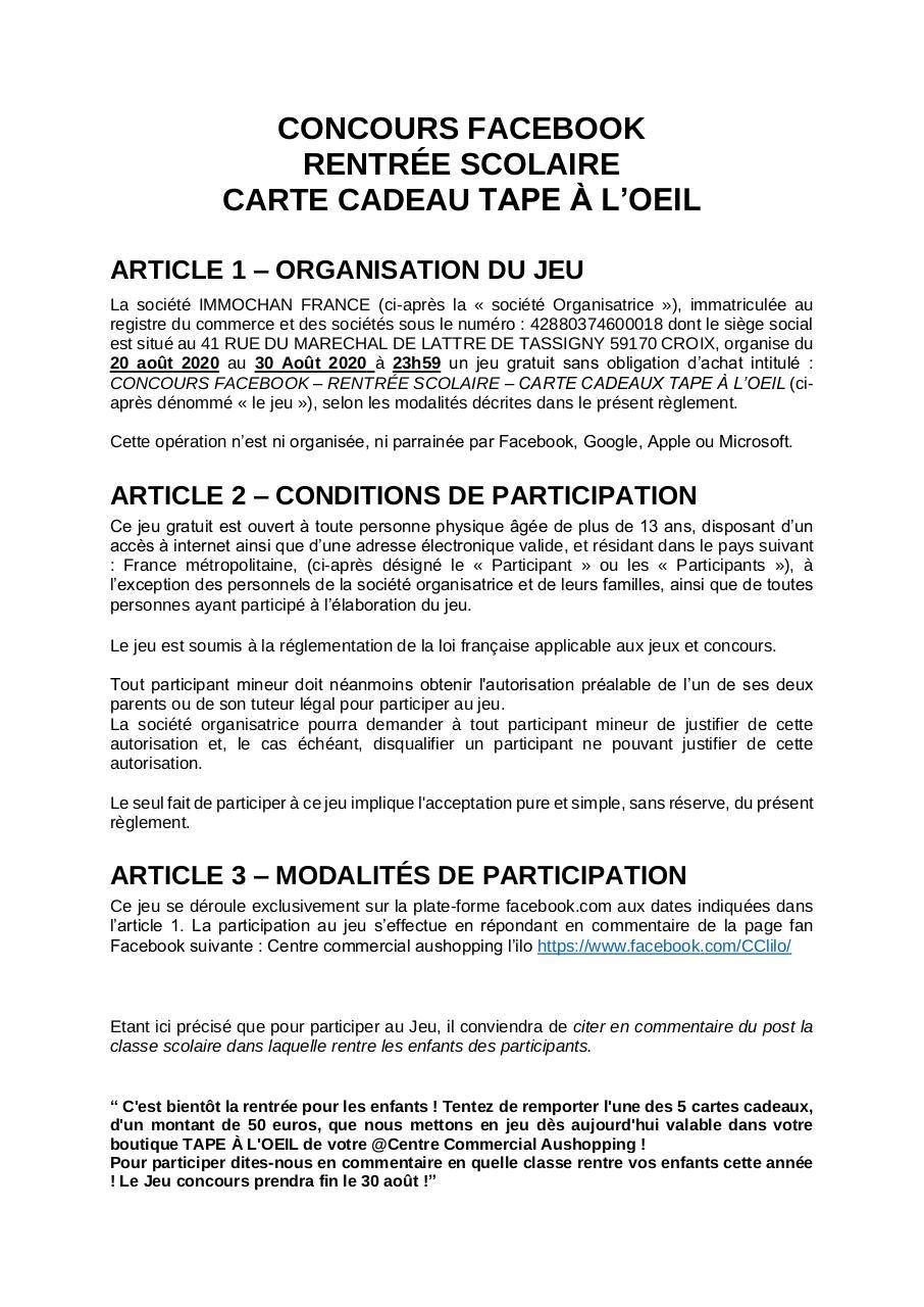 Reglement Concours Facebook Rentree Scolaire Carte Cadeau Tape A L Oeil Aout Pdf Par Sandrine Madji Fichier Pdf