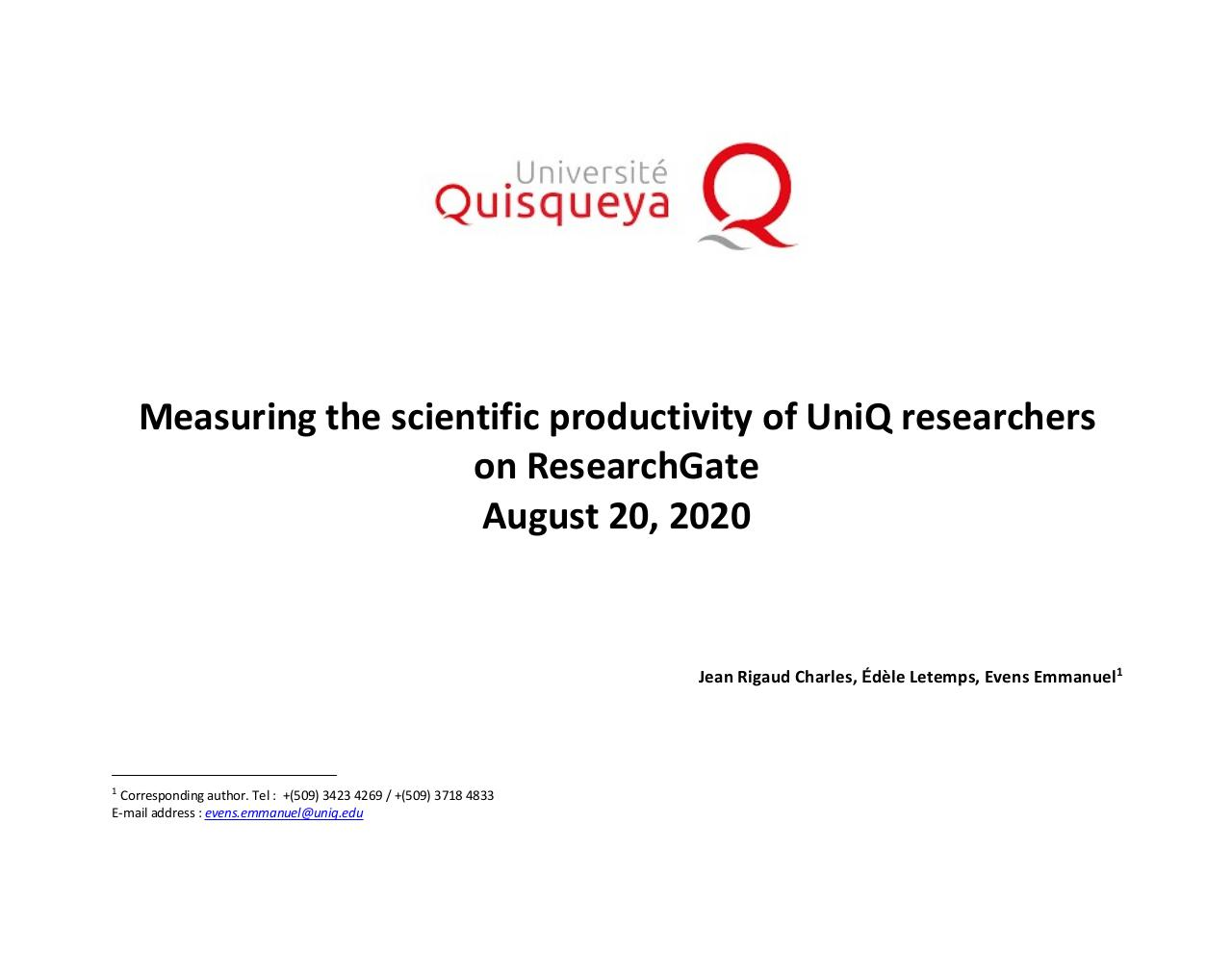 Aperçu du document August 2020 - Measures of scientific productivity of researchers at Quisqueya University - RESEARCHGATE.pdf - page 1/20