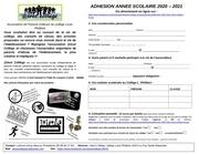 bulletin adhesion 2020 2021