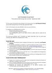 les phoenix dantony   protocole sanitaire   septembre 2020