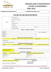 formulaire inscription lmd dt isca dakar