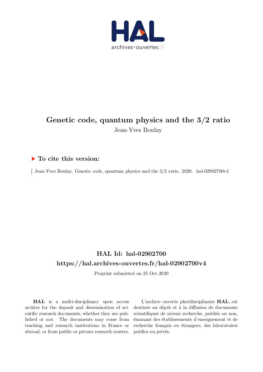 Aperçu du document Genetic code quantum analysis.pdf - page 1/23