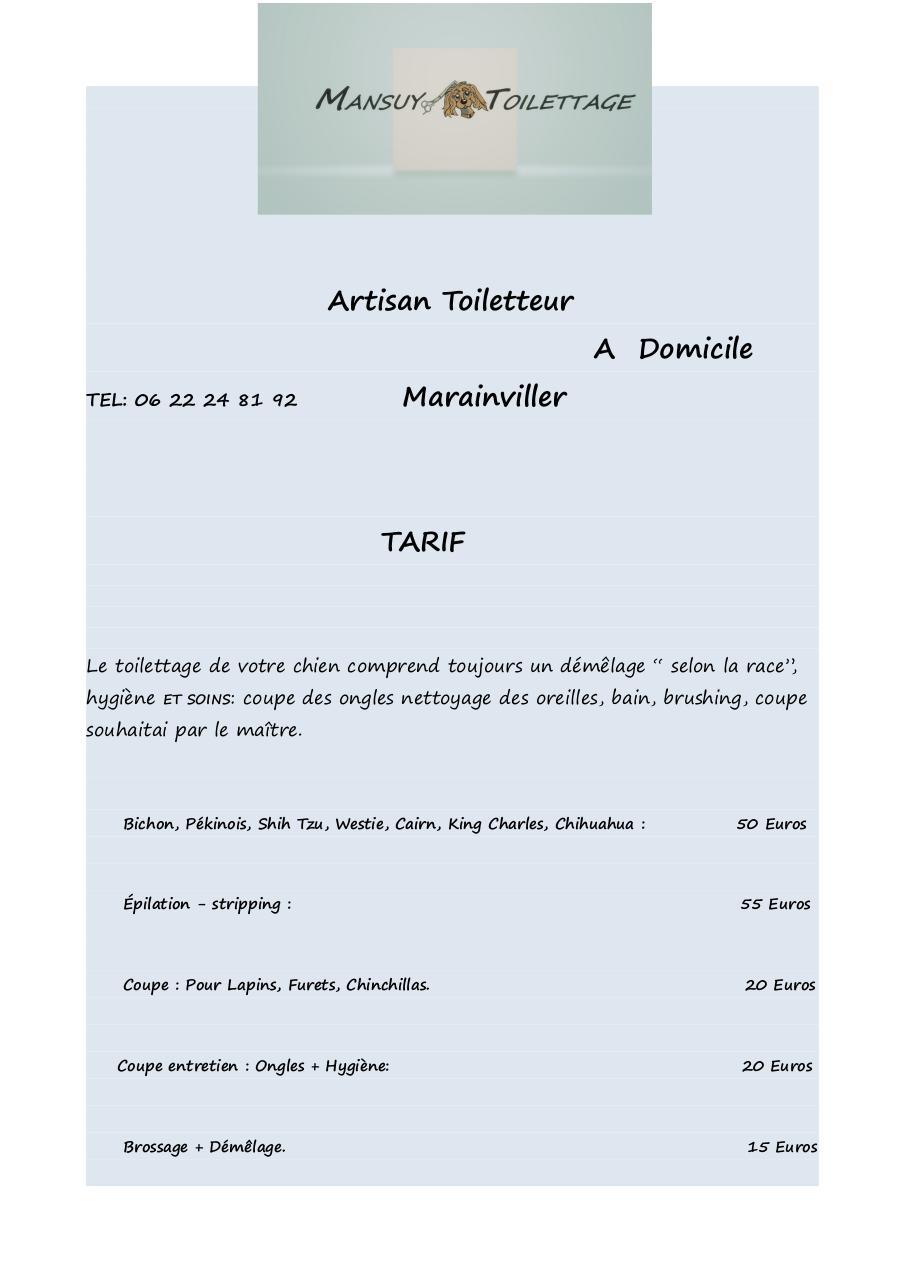 Tarif mansuy toilettage - Fichier PDF