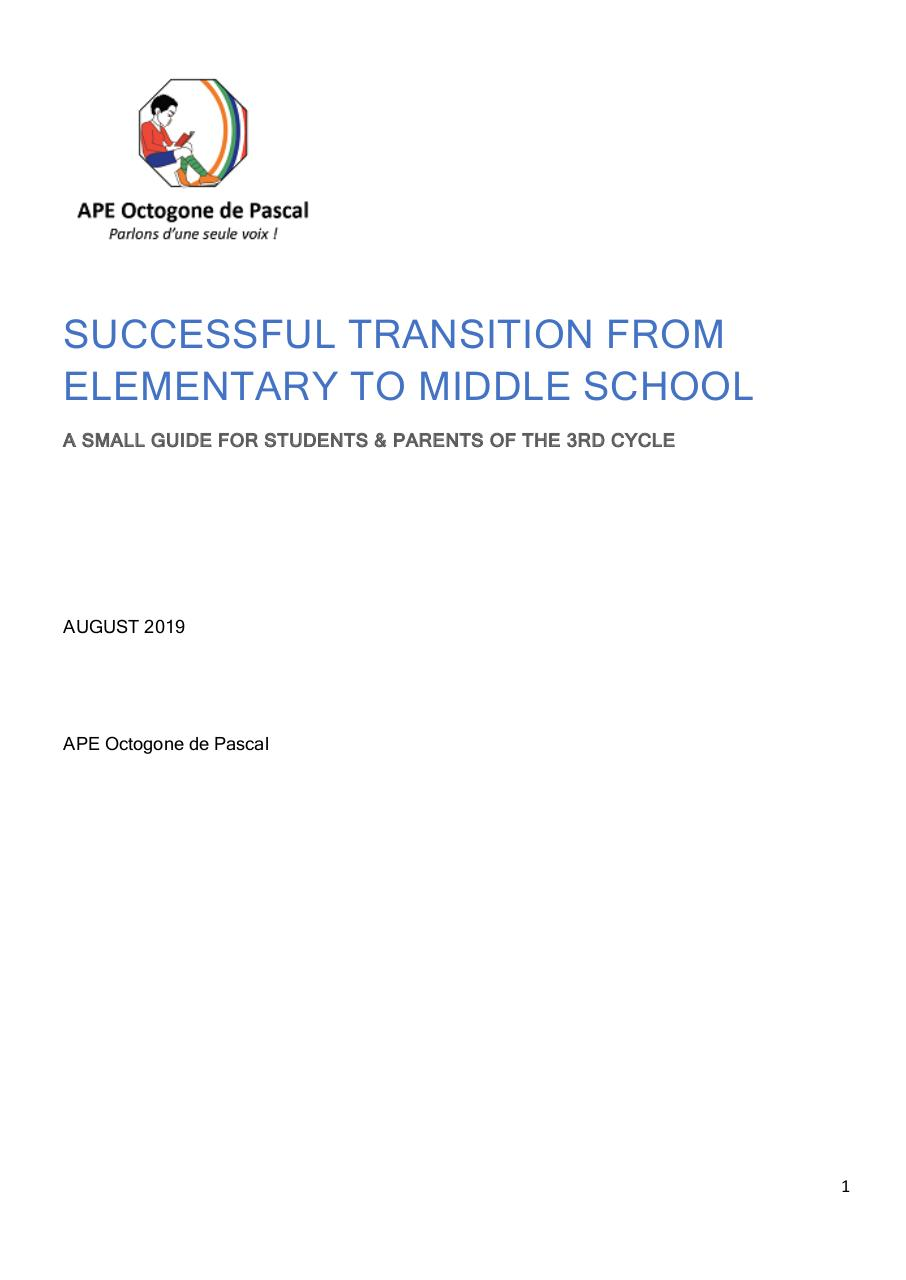 Aperçu du document Booklet from Elementary to Middle School (Septembre 2019) - CN.pdf - page 1/14