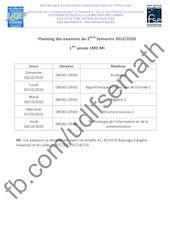 planning des examens 1mi s2 2019 2020
