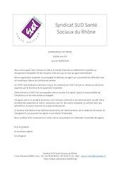communique syndicat sud sante sociaux du rhone suite a un suicid