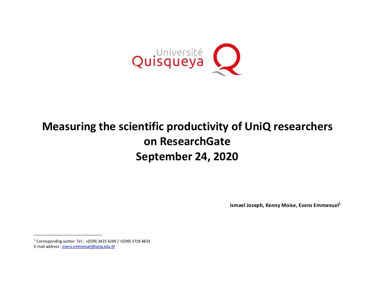 Aperçu du document September 2020 - Measures of scientific productivity of researchers at Quisqueya University - RESEARCHGATE.pdf - page 1/20