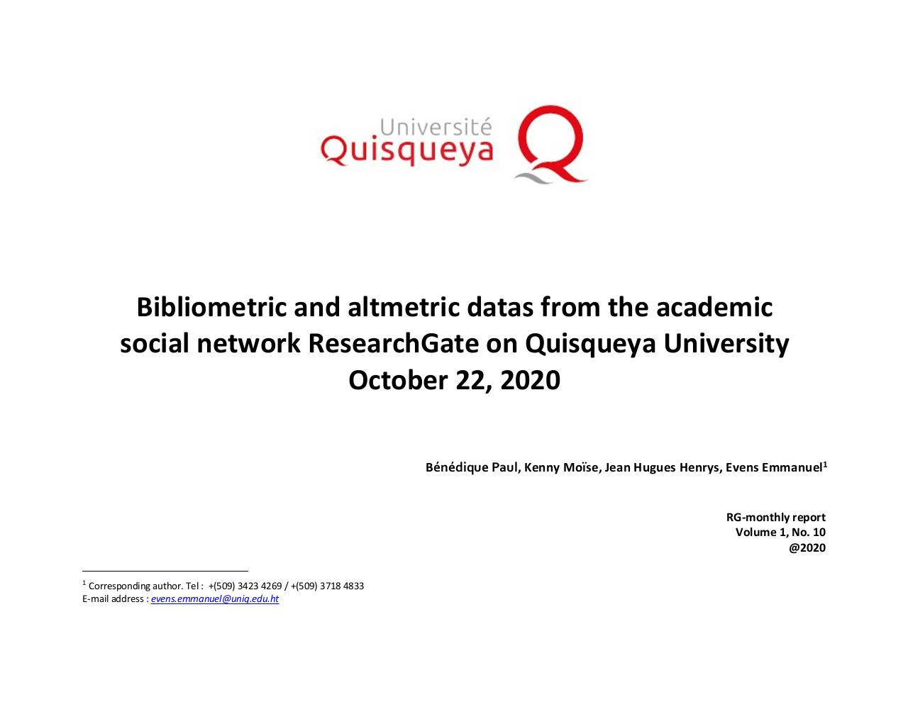 Aperçu du document October 2020 - Bibliometric and altmetric datas from ResearchGate on Quisqueya University.pdf - page 1/23