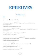 mathematiques epreuves