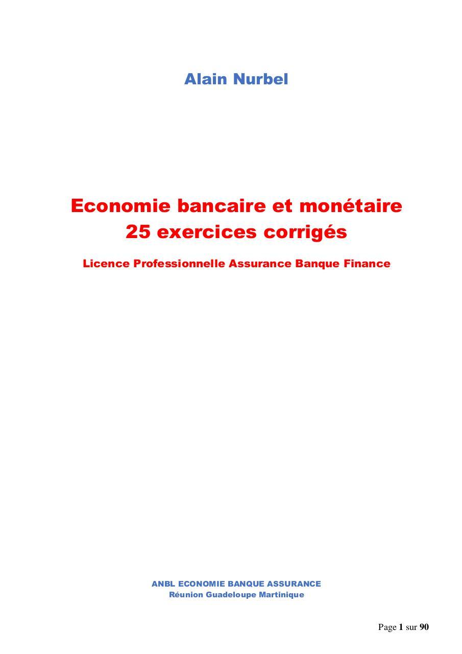 Economie Bancaire Et Monetaire 25 Exercices Corriges Par Nurbel Fichier Pdf