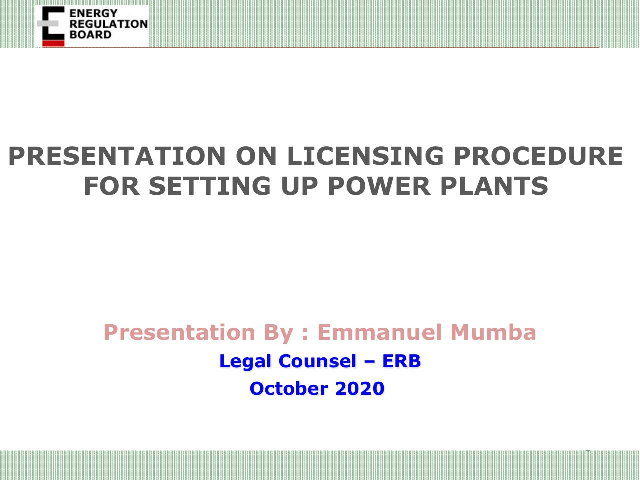 Aperçu du document Presentation on Licensing  Procedure for Power Plants_Oct 2020.pdf - page 1/10