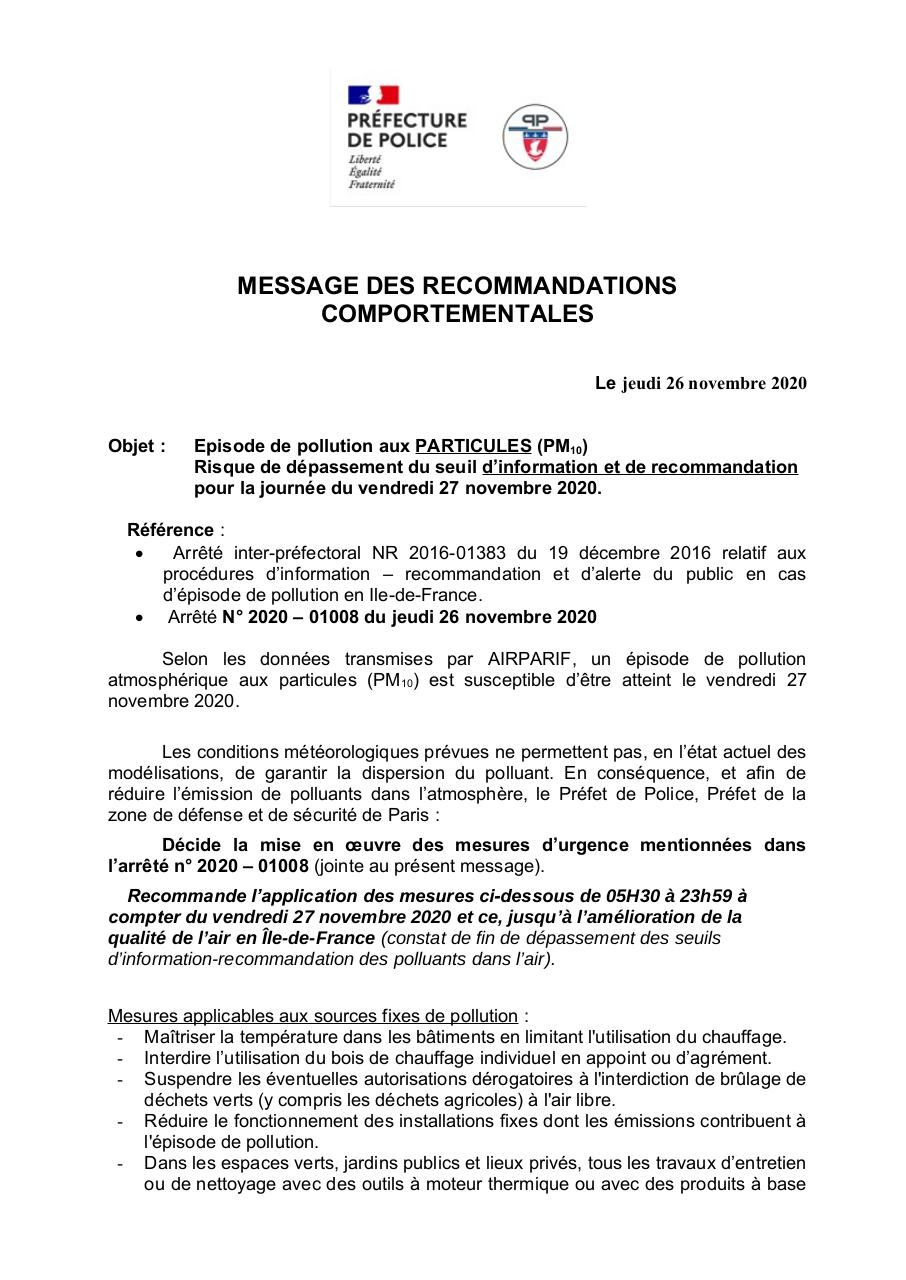 Aperçu du document 2020 11 26 - PM10 - Recommandations comportementales..pdf - page 1/6
