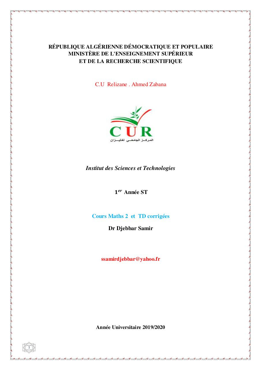 Aperçu du document Dr Djebbar Samir-Cours-Maths-2-2020.pdf - page 1/104
