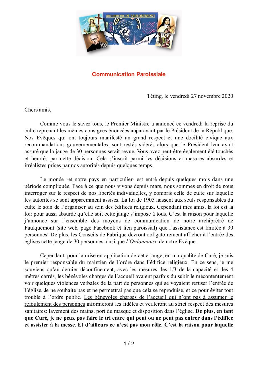 Aperçu du document Communication Paroissiale 27112020 copie.pdf - page 1/2