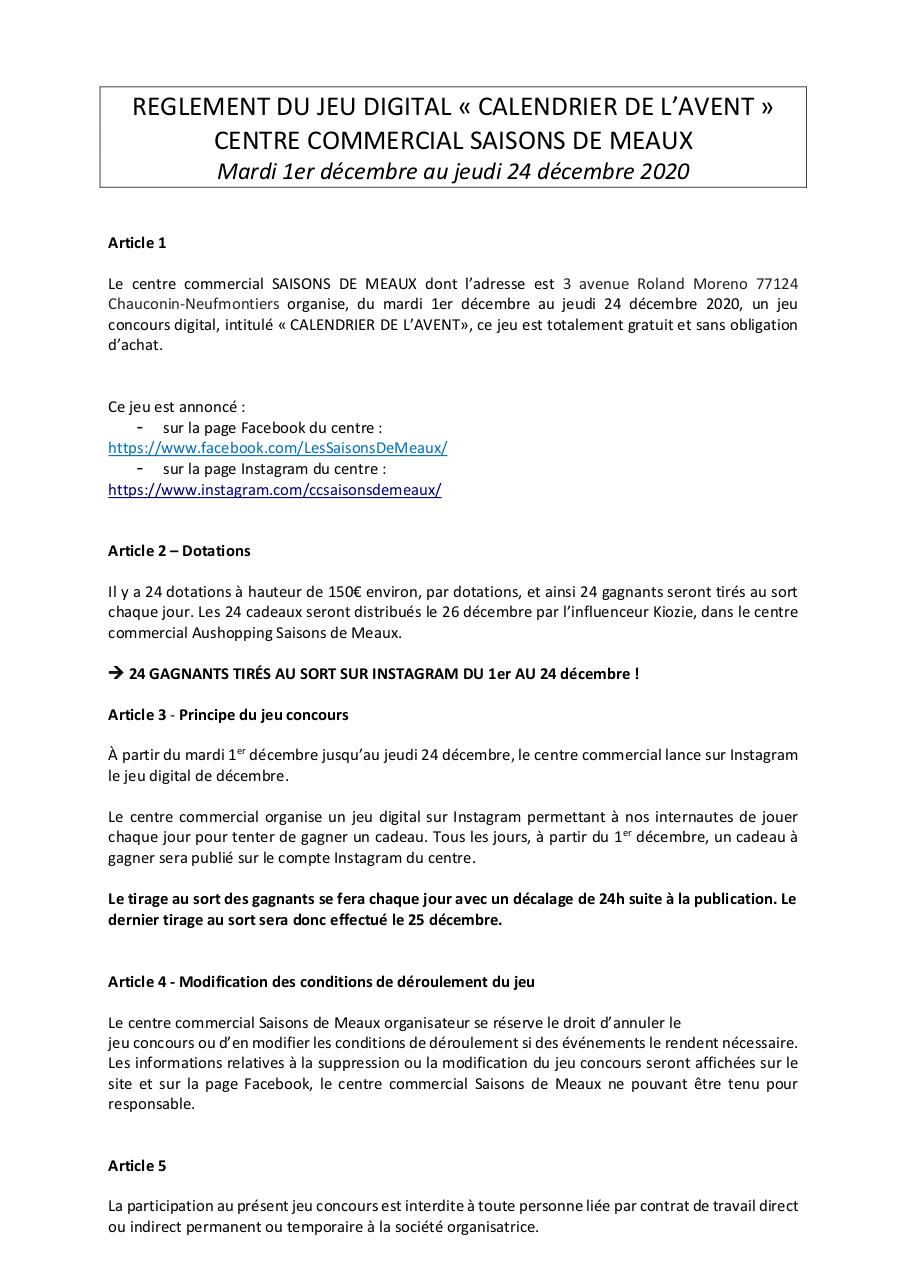 Aperçu du document Règlement Digital _ calendrier de l'avent instagram SDM.pdf - page 1/3