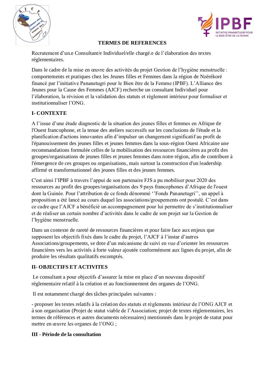 Aperçu du document TDR-Recutement-de-Consultant-AJCF-Guinée.pdf - page 1/3