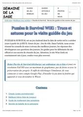 puzzles  survival  revue des guides et des secrets du jeu