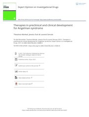 therapies in preclinical and clinical development for angelman s